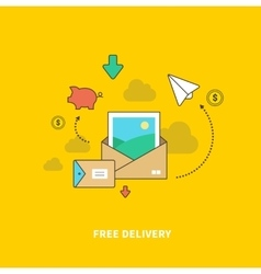 Concept of Free Delivery as Saving Money vector