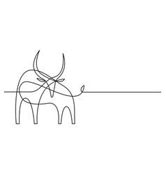 continuous line bull drawing style vector image