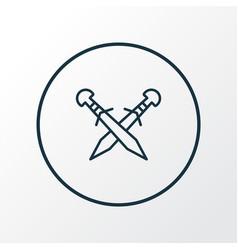 Crossed swords icon line symbol premium quality vector