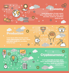 cryptocurrency concept flat line art banner vector image