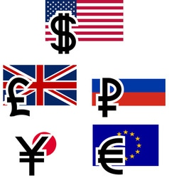 Currency symbols and flags vector