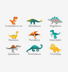 Cute and funny flat dinosaurs with titles vector