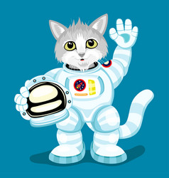 cute cat in an astronaut costume vector image