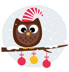 Cute christmas owl sitting on the branch vector