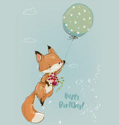 cute fox with balloon collection vector image