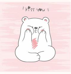 cute white north pole bear vector image