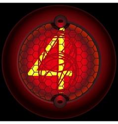 Digit 4 four Nixie tube indicator vector image