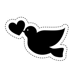 dove with heart icon vector image