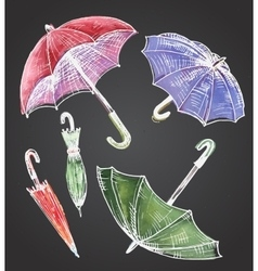 Drawing watercolor set of umbrellas vector image