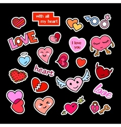Fashion patch badges Hearts set Stickers pins vector image