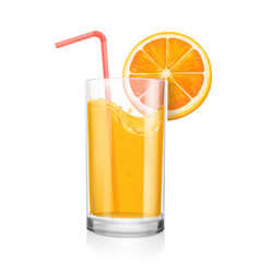 Fresh orange juice in a glass coctail pipe vector