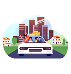 friends car trip young excited drivers joy man vector image