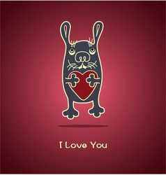 Funny rabbit in love gives his heart for vector image