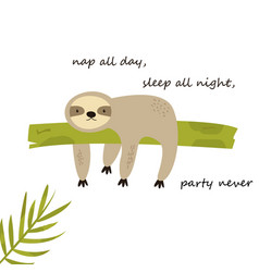 Funny sloth napping on a tree funny vector
