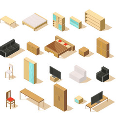 Furniture isometric elements set vector