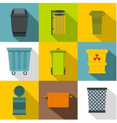 garbage storage icon set flat style vector image