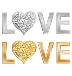 Glitter love valentine vector