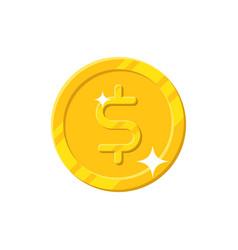 gold dollar coin cartoon style isolated vector image