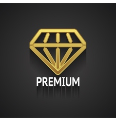 Golden Diamond Logo Design on Gray Background vector