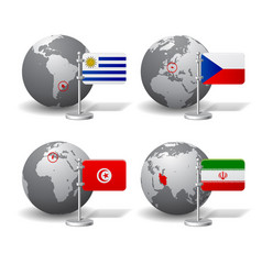 gray earth globes with designation uruguay vector image