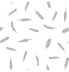 grey feathers seamless pattern vector image