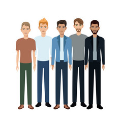 Group of young men vector