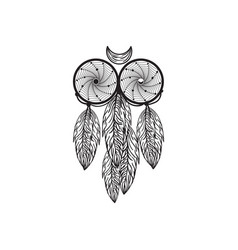 Hand drawn native american dreamcatcher owl vector