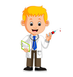Happy doctor holding syringe vector