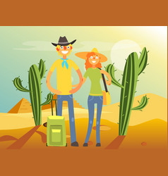 happy family couple traveling and sightseeing vector image