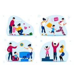 happy family with children life scenes set vector image