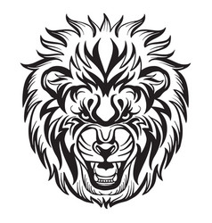 head mascot lion isolated on white vector image