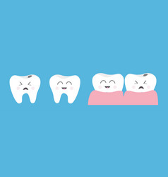 Healthy smiling tooth gum icon set line crying vector