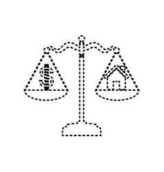 house and dollar symbol on scales black vector image