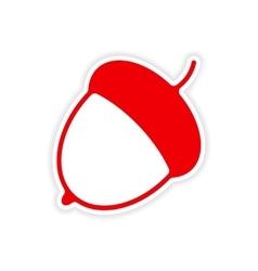 Icon sticker realistic design on paper acorn vector