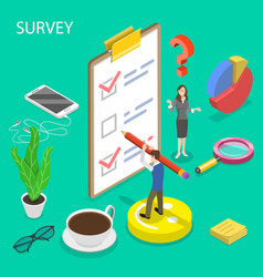 isometric flat concept survey customer vector image