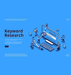Keyword research seo tool isometric landing page vector