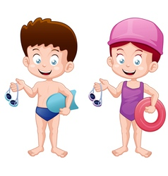 Kids swiming vector