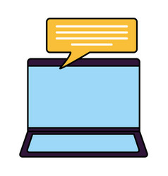 Laptop computer device speech bubble vector