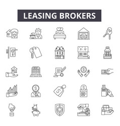 leasing brokers line icons signs set vector image