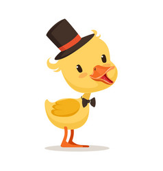 Little yellow duck chick in top hat and bow tie vector
