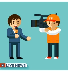 Live news journalist is facing the camera vector