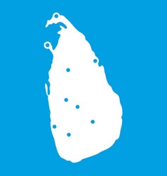 Map of sri lanka icon white vector