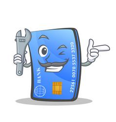 Mechanic credit card character cartoon vector