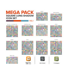 Mega pack square icon set bundle long shadow vector
