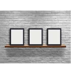 mock up three blank frame on wood shelf with vector image