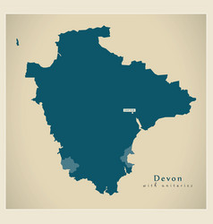 Modern map - devon county with unitary areas uk vector