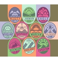 Mountain badges linear 2 mono vector
