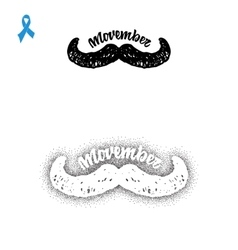 Movember Badge November mustache hand lettering vector