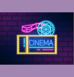 neon glowing signboard for cinema with film disk vector image