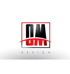 om o m logo letters with red and black colors and vector image